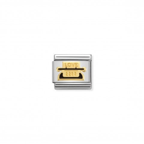 Composable_Classic_Link_Typewriter_Link_in_stainless_steel,_black_enamel_and_18K_gold