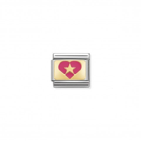 Composable_Classic_Link_Fuchsia_Heart_with_Star_Link_with_Heart_and_Star_in_steel,_18K_gold_and_enamel