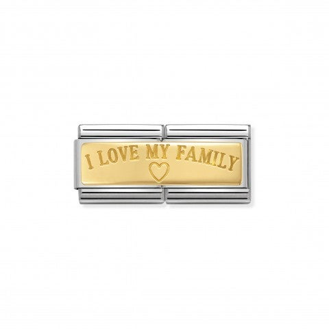 Composable_Classic_Double_Link_I_Love_My_Family_Stainless_steel_Link_with_writing_in_18K_gold
