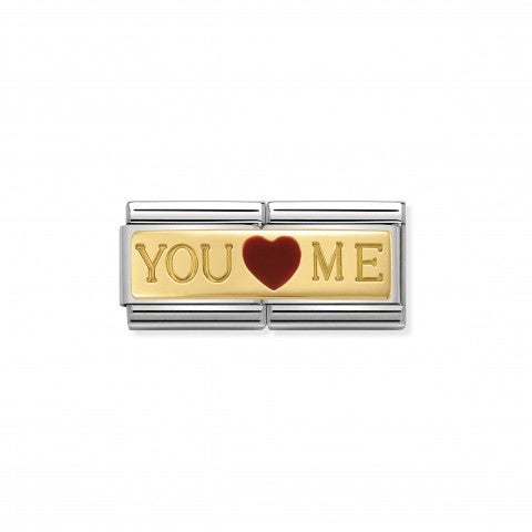 "Composable_Classic_Double_Link_You_And_Me_Link_in_stainless_steel_and_18K_gold_with_""You_and_Me"""