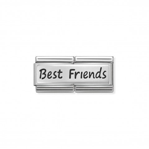 Composable_Classic_Double_Link_Best_Friends_Link_in_stainless_steel_with_writing_in_sterling_silver