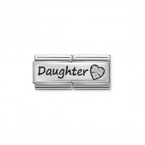 Composable_Classic_Double_Link_Daughter_Link_with_writing_in_silver_and_stainless_steel