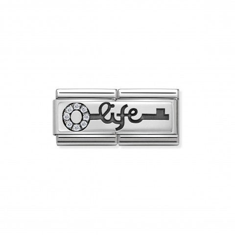 Composable_Classic_Double_Link_Key_with_Life_Link_in_stainless_steel,_sterling_silver_and_Zirconia
