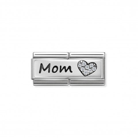 "Composable_Classic_Double_Link_Mom_and_Heart_Link_with_""Mom""_in_sterling_silver_and_Zirconia"