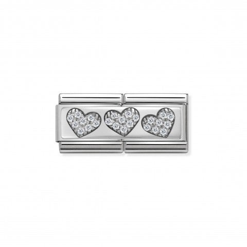Composable_Classic_Double_Link_3_Hearts_Link_with_Hearts_in_sterling_silver_and_white_Swarovski