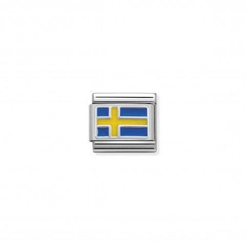 Link_Composable_Classic_Svezia_con_Smalto_Link_con_bandiera_svedese_in_Argento_925_e_Smalto