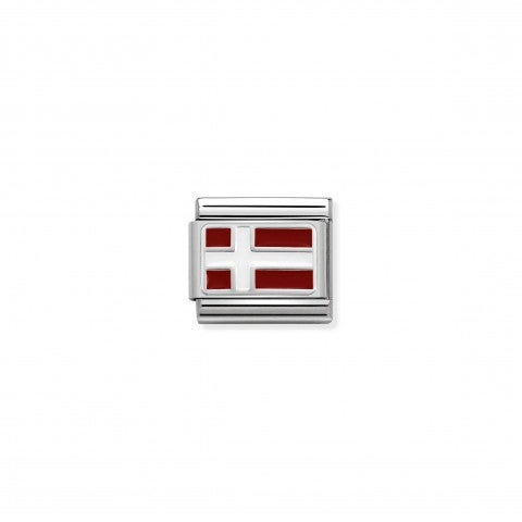 Link_Composable_Classic_Danimarca_con_Smalto_Link_con_bandiera_danese_in_Argento_925_e_Smalto