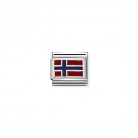 Link_Composable_Classic_Norvegia_con_Smalto_Link_in_Acciaio,_Argento_e_Smalto_con_bandiera_norvegese