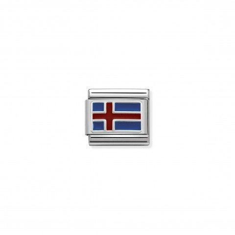 Link_Composable_Classic_Islanda_con_Smalto_Link_in_Acciaio,_Argento_e_Smalto_con_bandiera_islandese
