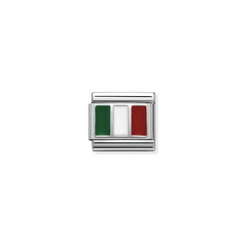 Link_Composable_Classic_Italia_con_Smalto_Link_con_bandiera_Italiana_in_Argento_e_Smalto