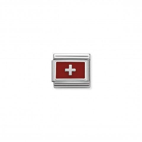 Link_Composable_Classic_Svizzera_con_Smalto_Link_con_bandiera_Svizzera_in_Argento_925_e_Smalto