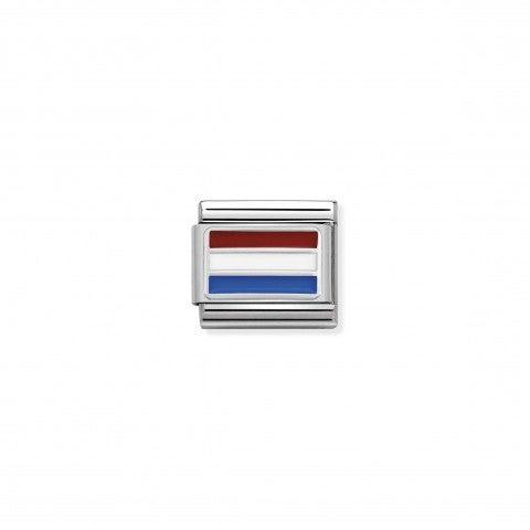 Link_Composable_Classic_Olanda_con_Smalto_Link_in_Acciaio,_Argento_925_e_Smalto_con_bandiera