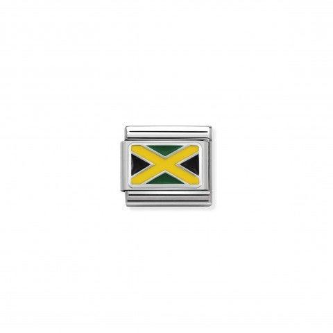 Link_Composable_Classic_Jamaica_con_Smalto_Bandiera_Jamaicana_in_Argento_925_e_Smalto_colorato