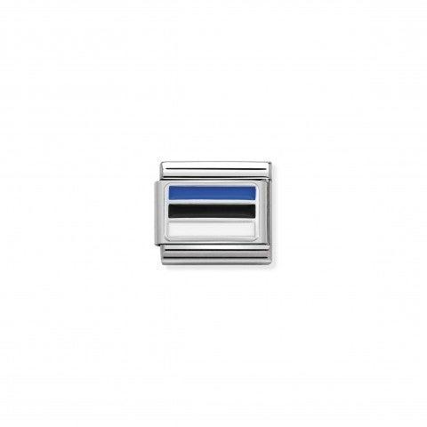 Link_Composable_Classic_Estonie_avec_Email_Drapeau_Estonie_en_Argent_925_et_Email_coloré