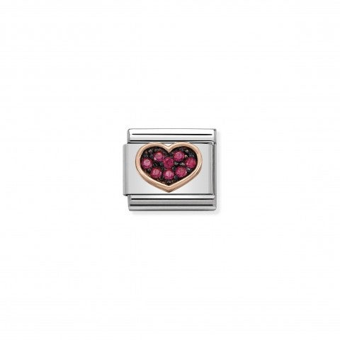 Composable_Classic_Link_Heart_with_Red_Stones_Link_in_steel_and_9K_rose_gold_with_red_Zirconia