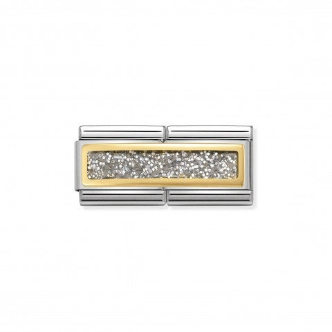 Composable_Classic_Double_Link_Silver_Glitter_Link_in_Stainless_steel_with_Gold_details