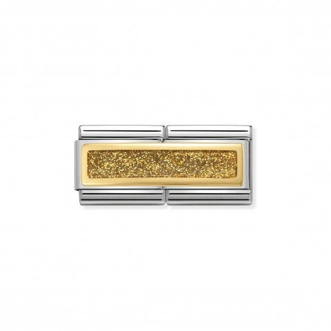 Composable_Classic_Double_Link_Gold_Glitter_Link_in_Stainless_steel_with_Gold_details_and_Glitter