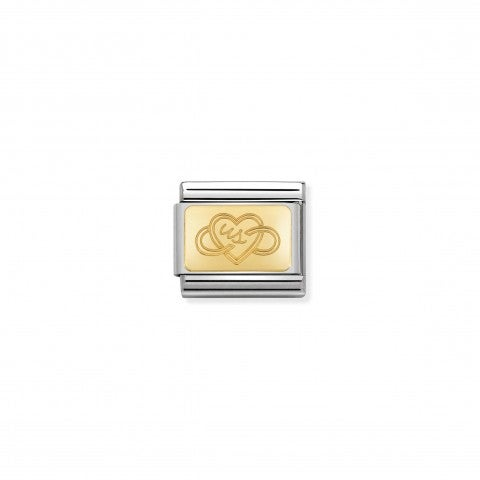 Composable_Classic_Link_with_Gold_Us_Heart_Link_in_stainless_steel_and_18K_gold_with_Love_symbol