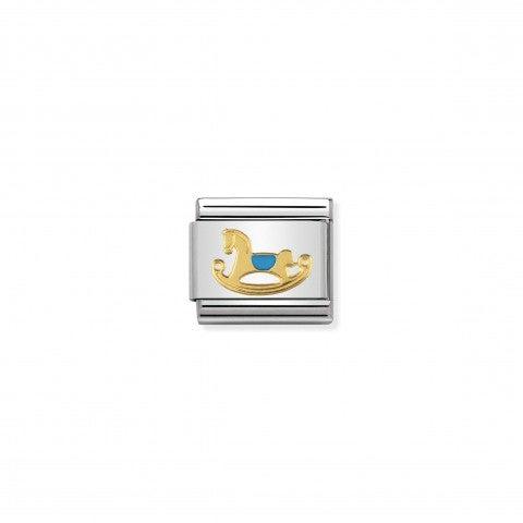 Link_Composable_Classic_Cavallino_Celeste_Link_in_Acciaio_e_Smalto_colorato_con_simbolo