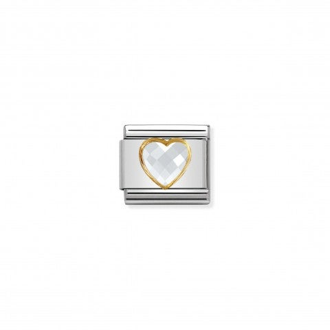 Composable_Classic_Multifaceted_White_Heart_Link_Link_in_stainless_steel,_18K_gold_and_Cubic_Zirconia