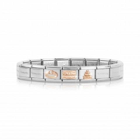 Bracelet_Composable_Classic_Mariage_en_Or_Rose_Bracelet_avec_inscription_Wedding,_alliance_et_gâteau_de_mariage.