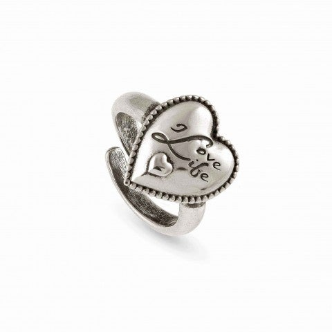 Adjustable_Ring_RockInLove_Written_Heart_Necklace_in_Vintage_Effect_Brass,_999_Silver_Plating