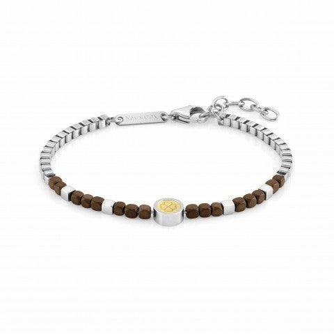 Bracelet_Voyage_Stainless_Steel_Fourleaf_Clover_Bracelet_with_details_in_18K_Gold,_Brown_Hematite