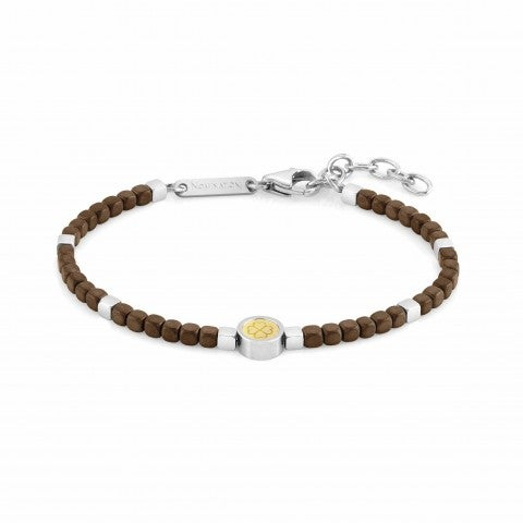 Bracelet,_Fourleaf_Clover,_Full_Brown_Hematite_Bracelet_in_Stainless_Steel_and_18K_Yellow_Gold