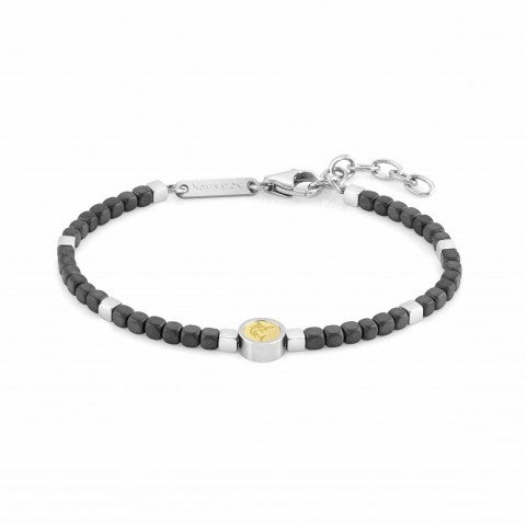 Bracelet_Voyage_Marlin,_Black_Hematite_Bracelet,_Stainless_Steel_and_18K_Gold_with_Symbol