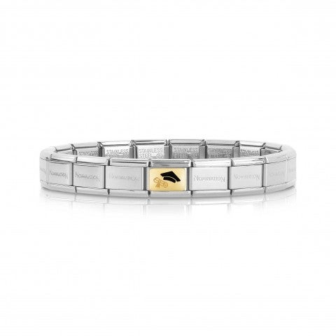 Composable_Classic_Bracelet_with_Grad_Diploma_Bracelet_with_symbol_in_gold_and_black_enamel