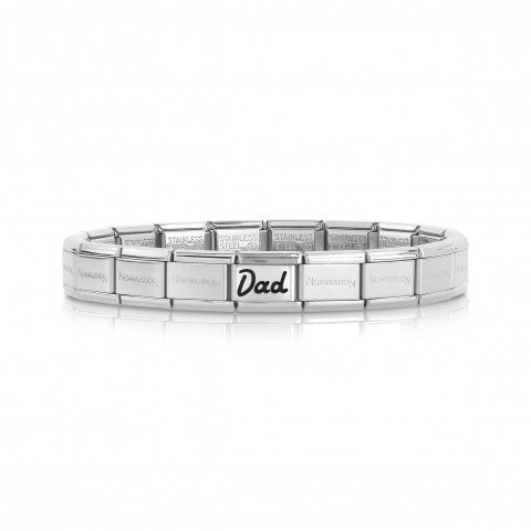Composable_Classic_Bracelet_with_Dad_in_cursive_Bracelet_with_writing_in_steel_and_black_enamel