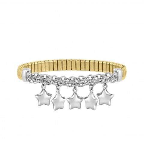 MIXIT_Stretch_Bracelet_with_Stars_Women's_bracelet_in_steel_and_silver_with_pendants
