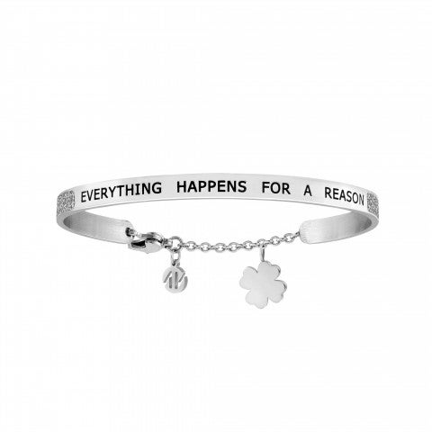 Everything_happens_for_a_reason_Messaggiamo_Bracelet_Steel_Bracelet_with_pendant_in_the_shape_of_a_four-leaf_clover