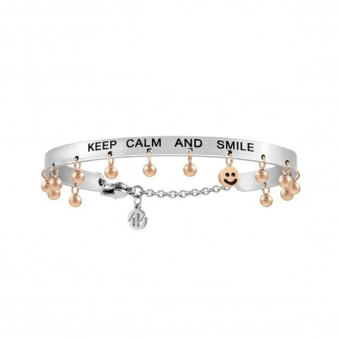 Keep_calm_and_smile_Messaggiamo_Bracelet_Steel_Bracelet_with_pendant_spheres_in_rose_gold_finish