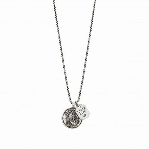 Collana_in_Ottone_Freedom_Never_Give_up_Collana_in_Ottone_con_carpa_e_piastrina
