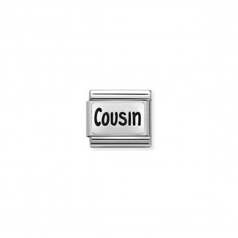 Link_Composable_Classic_Cugino_in_Argento_Link_con_scritta_inglese_in_Smalto_nero
