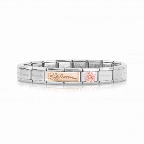 Composable_Classic_Bracelet_Sister_and_Flower_Bracelet_with_Sister_engraved_with_Link_in_pink_coral_paste_and_9K_rose_gold