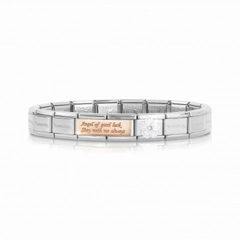Composable_Classic_Bracelet_Angel_Double_Link_Bracelet_with_Angel_of_Good_Luck_engraved_with_Link_in_Mother_of_Pearl_and_9K_rose_gold