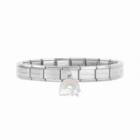 Composable_Classic_Bracelet_with_Rainbow_Bracelet_with_pendant_in_silver_and_enamel_Rainbow_with_Cloud_and_Star