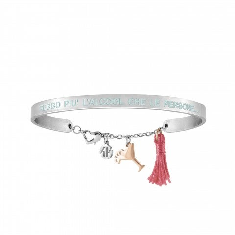Messaggiamo_Bracelet_I_Can_Tolerate_Alcohol_Stainless_steel_bracelet_with_rose_gold_Cocktail_and_tassel
