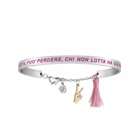 Messaggiamo_Bracelet_Those_Who_Struggle_Can_Lose_Stainless_steel_bracelet_with_rose_gold_Hand_and_pink_tassel