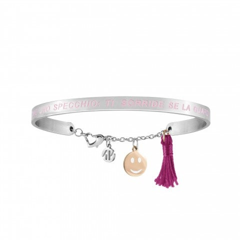 Messaggiamo_Bracelet_Life_Is_Like_A_Mirror_Steel_bracelet_with_rose_gold_Smile_and_fuchsia_tassel