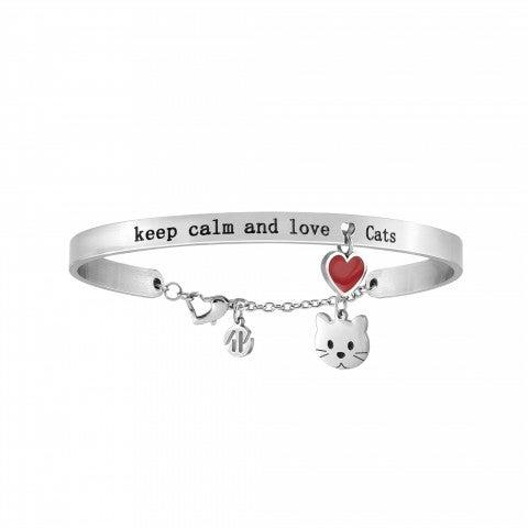 Bracciale_Messaggiamo_Keep_calm_and_Love_Cats_Bracciale_in_Acciaio_con_pendenti_Gatto_e_Cuore_Rosso