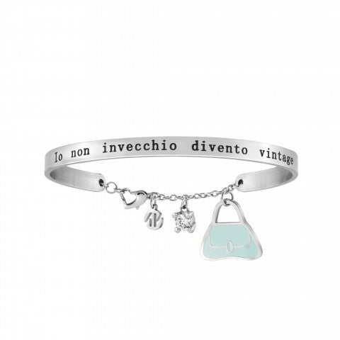 Messaggiamo_Bracelet_I'm_Not_Old_Stainless_steel,_enamel_and_Zirconia_bracelet_with_pendant