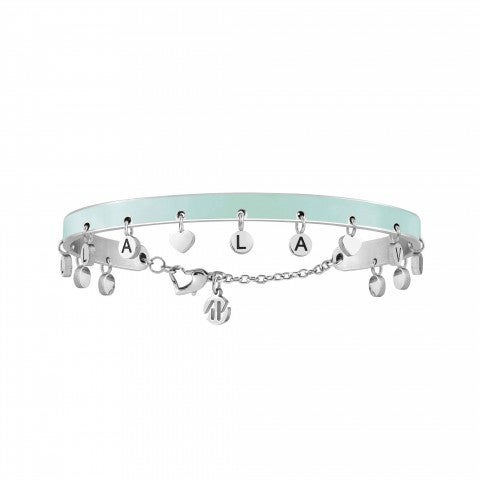 Messaggiamo_Bracelet_Life_Is_Beautiful_Stainless_steel_and_light_blue_enamel_bracelet_with_pendants