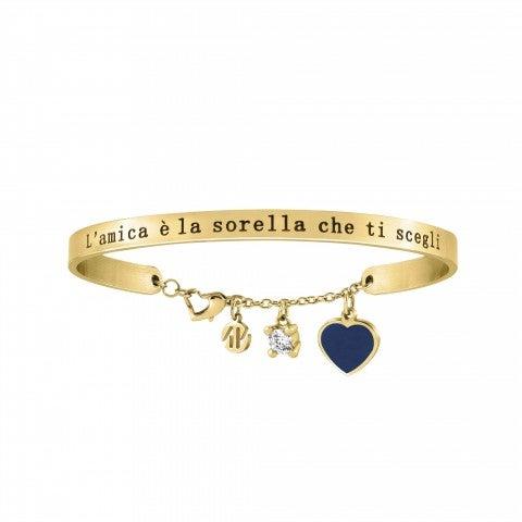 Messaggiamo_Bracelet_Friend_and_Sister_Gold_Stainless_steel_bracelet,_blue_enamel_and_Zirconia_pendant