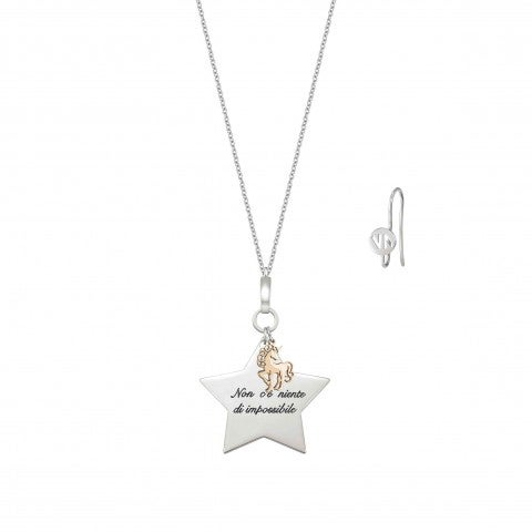 Messaggiamo_Necklace_Nothing_Is_Impossible_Necklace_in_stainless_steel_and_rose_gold_with_Unicorn