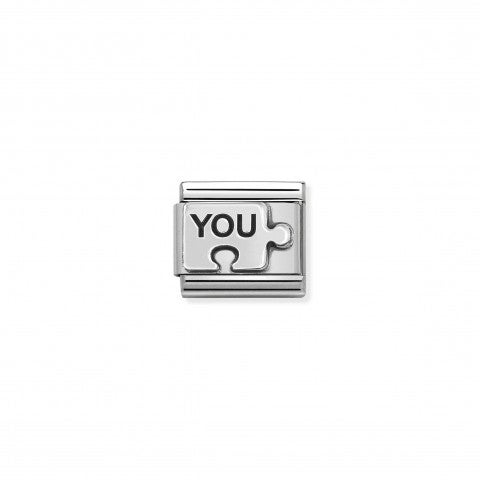 Link_Composable_Classic_Puzzle_YOU_Link_en_Argent_avec_inscription._#oneformeoneforyou