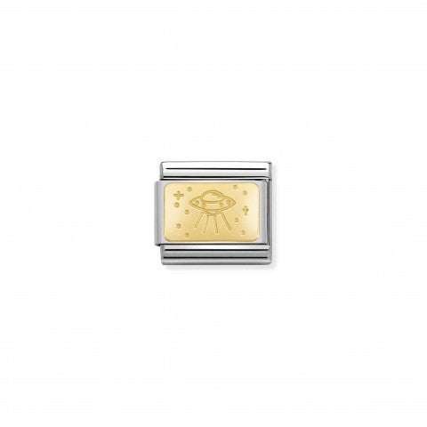 Composable_Classic_Link_Gold_Plate_with_UFO_Link_in_18K_gold_with_engraved_UFO_symbol