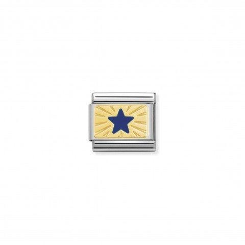 Link_Composable_Classic_Stella_Blu_Simbolo_in_Smalto_blu_con_placca_in_Oro.